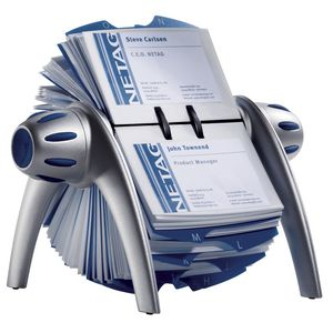 Durable Visifix Rotary Business Card File 400 Capacity Silver