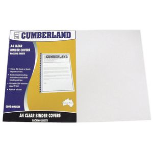 Cumberland Binding Covers A4 Clear 100 Pack