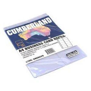 Cumberland A4 Executive Business Card Refill Pk/10