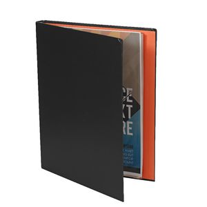 A4 Hard Cover Display Book 20 Fixed Pockets Charcoal