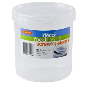 Decor Foodfresh Round Container Clear 750mL