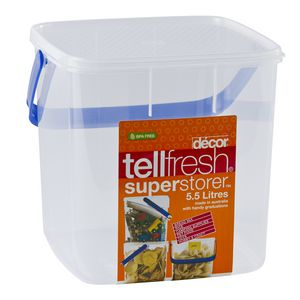 Decor Tellfresh Square Super Storer with Blue Handle 5.5L