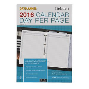 Collins Debden A4 Dayplanner Day Per Page 2016 Refill