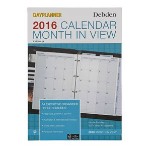 Collins Debden A4 Dayplanner Month to View 2016 Refill