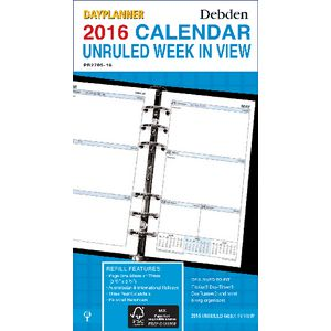 Collins Debden Dayplanner Week to View 2016 Unruled Refill