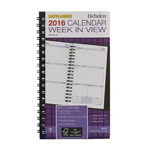 Collins Debden Slimline Dayplanner Week to View 2016 Refill
