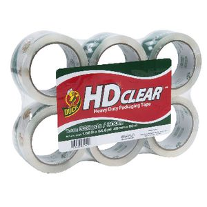 Duck HD Clear Packaging Tape 48mm x 50m 6 Pack