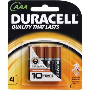 Duracell Coppertop AAA Batteries 4 Pack
