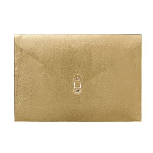 A4 Luxe Document Wallet with String Closure Gold