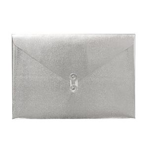 A4 Luxe Document Wallet with String Closure Silver