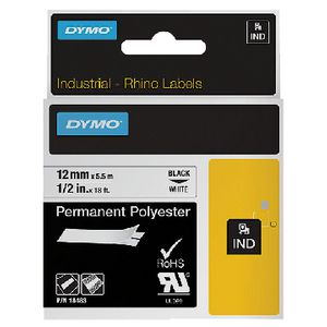 DYMO Industrial Polyester Tape 12mm Black on White