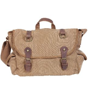 "Zoomlite Canvas 15.6"" Messenger Bag with Leather Trim Beige"