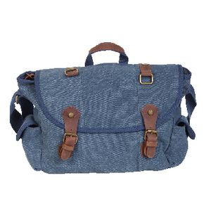 "Zoomlite Canvas 15.6"" Messenger Bag with Leather Trim Blue"