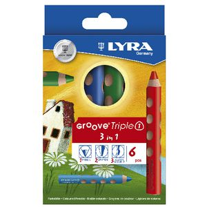 Lyra Groove Triple Colour Pencils 6 Pack