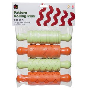 Educational Colours Rubber Patterned Rolling Pins 4 Pack