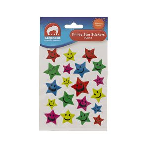 Elephant Learning Company Smiley Star Stickers 20 Pack