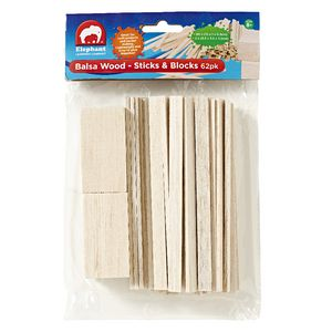 ELC Balsa Wood Blocks and Sticks 62 Pack