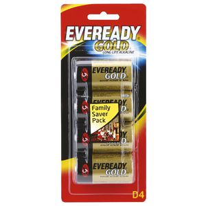 Eveready Gold D Batteries 4 Pack