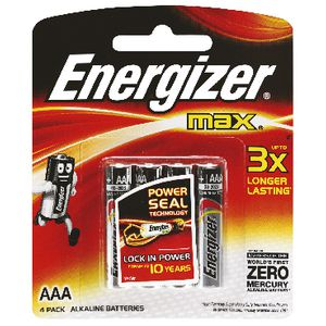 Energizer Max AAA Batteries 4 Pack