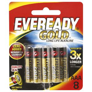 Eveready Gold AAA Batteries 8 Pack