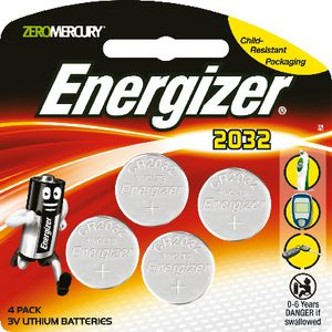 Energizer 3V CR2032 Lithium Coin Batteries 4 Pack