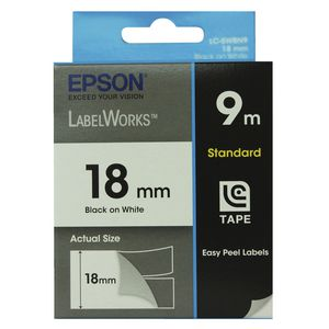 Epson LabelWorks Standard Tape 18mm x 9m Black on White