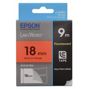 Epson LabelWorks Fluorescent Tape 18mm x 9m Black on Orange