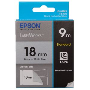 Epson LabelWorks Standard Tape 18mm Black on Matte Silver