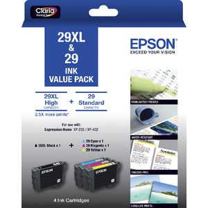 Epson 29XL Black and 29 Colour Ink Cartridges Value Pack