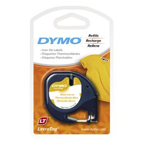 DYMO LetraTag Iron-On Tape 12mm x 2m Black on White