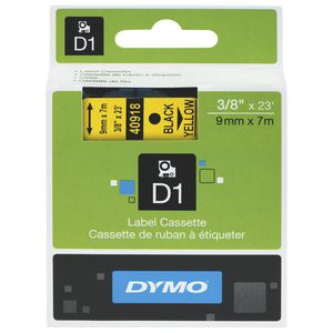 DYMO D1 Label Tape 9mm  Black on Yellow