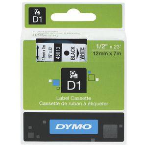 DYMO D1 Label Tape 12mm x 7m Black on White