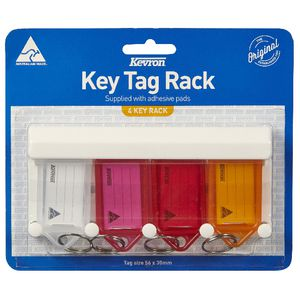 Kevron ID9 Fluoro Key Tags 4 Pack with Rack