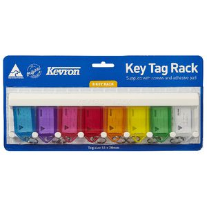 Kevron ID6 Fluoro Key Tags 8 Pack with Rack