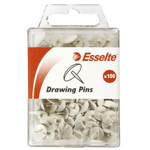 Esselte Drawing Pins White 100 Pack