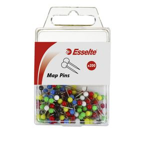 Esselte Map Pins Assorted Colours 200 Pack