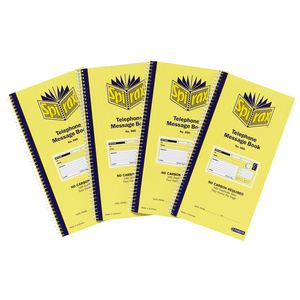 Spirax No. 550 Carbonless Telephone Message Book 4 Pack