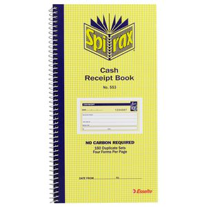 Spirax No. 553 Carbonless Cash Receipt Book