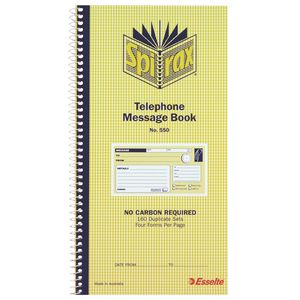 Spirax No. 550 Carbonless Telephone Message Book