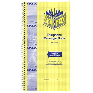 Spirax Carbonless Designer Telephone Message Book 2 Pack