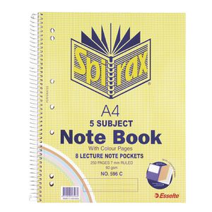 Spirax No. 596C A4 5 Subject Notebook 250 Page