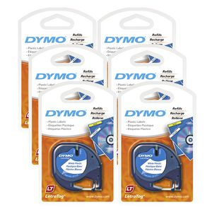 DYMO LetraTag 12mm Plastic Label Tape Black on White 6 Pack