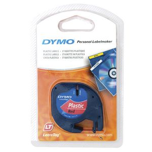DYMO LetraTag Plastic Label Tape 12mm Black on Red