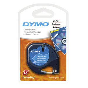 DYMO LetraTag Plastic Label Tape 12mm Black on Blue