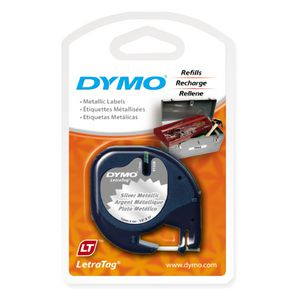 DYMO LetraTag Metallic Label Tape 12mm Black on Silver