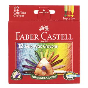 Faber-Castell Grip Wax Crayons 12 Pack