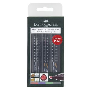 Faber-Castell Grip Permanent Markers Chisel Assorted 4 Pack