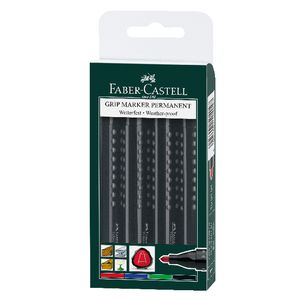 Faber-Castell Grip Permanent Markers Bullet Assorted 4 Pack