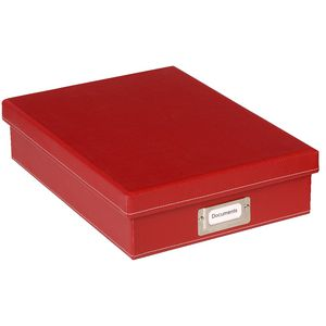 Otto Leather Look A4 Slim Document Box Red
