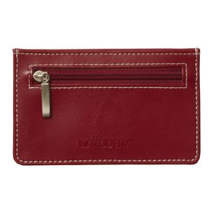 Modena Credit Card Wallet with Zipper Red